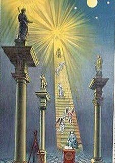 Arte maçônica retratando Sirius, a Estrela Flamejante, como o destino da viagem do Mason.