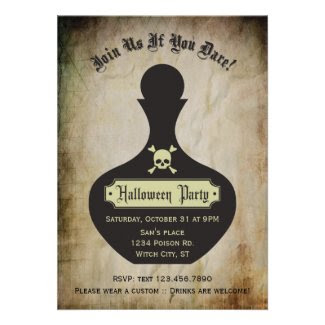Poison Bottle Halloween Party Invitation