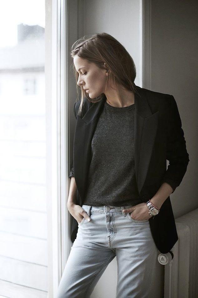 Le Fashion Blog Black Blazer Jacket Grey Knit Grey Tee Light Wash Grey Jeans Silver Rolex Watch Denim Emma Elwin photo Le-Fashion-Blog-Black-Blazer-Jacket-Grey-Knit-Grey-Tee-Light-Wash-Grey-Jeans-Silver-Rolex-Watch-Denim-Emma-Elwin.jpg