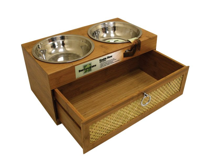 Bamboo Raised Dog Feeder w/ Storage