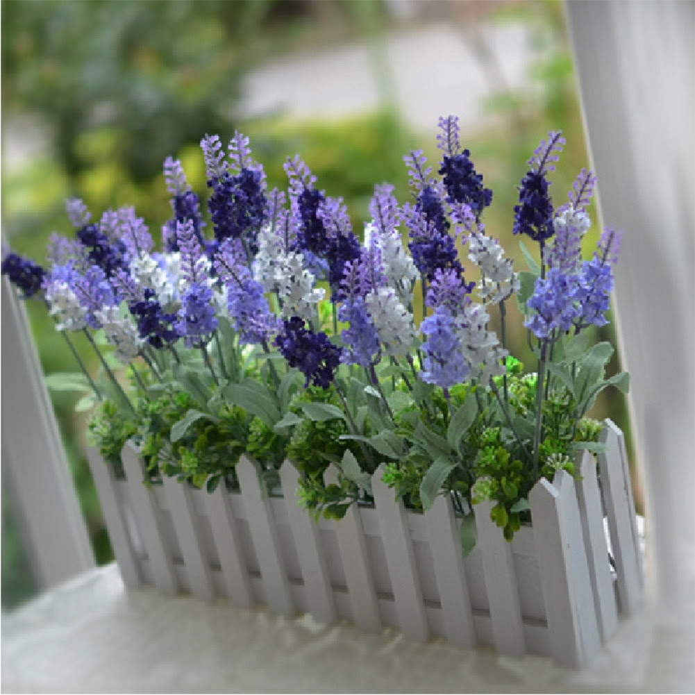 1 Bouquet Purple\/White Artificial Lavender Silk Flower Home Garden Decoration  eBay