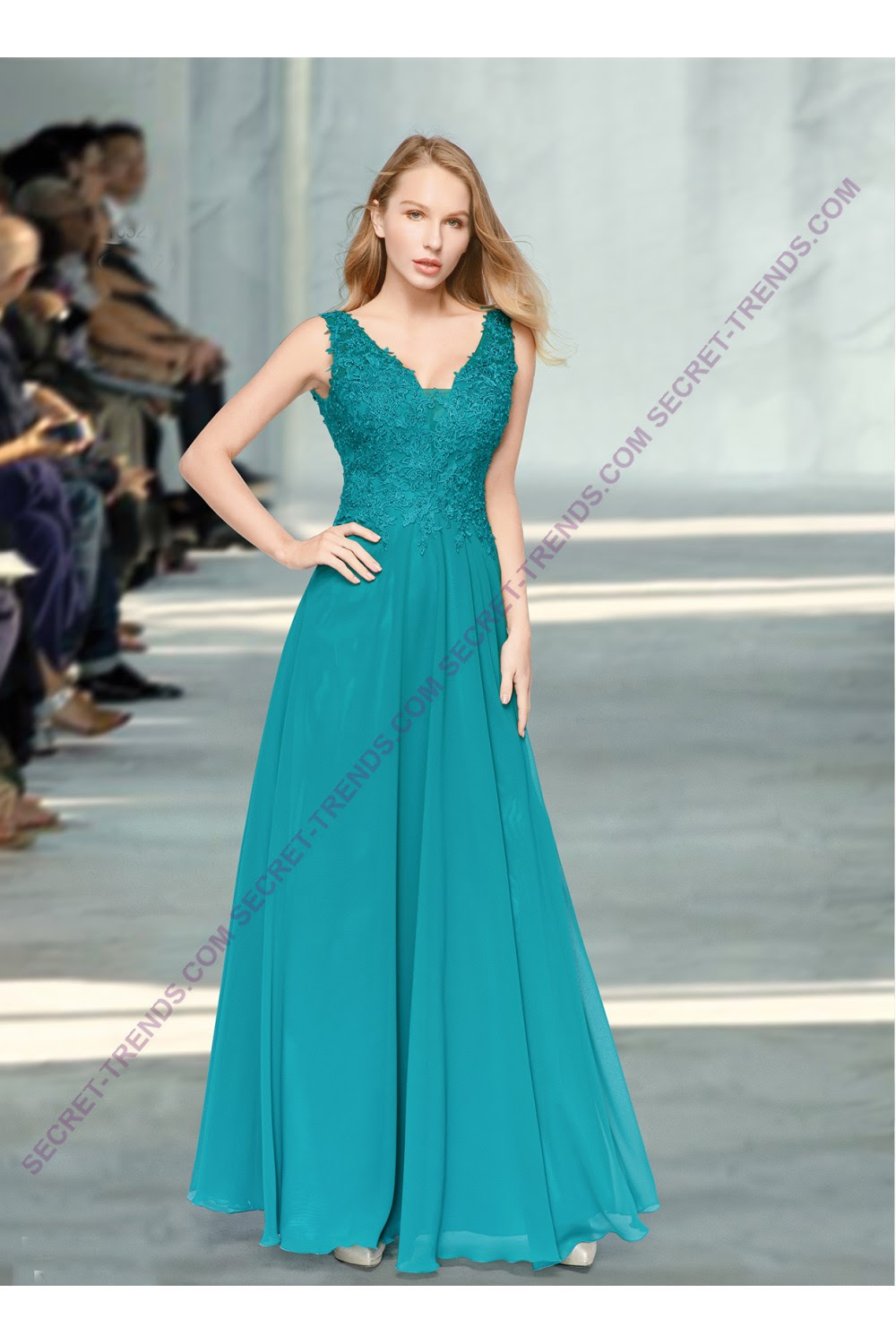 beautiful elegant chiffon evening dress a-line with top made