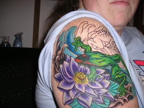 Frog On Flower Tattoo On Shoulder