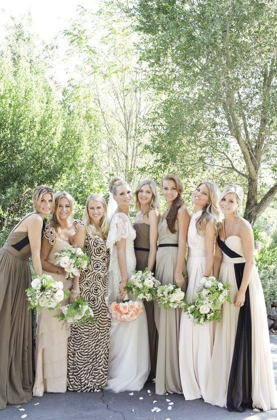 mixed matched bridesmaid dreses. molly sims | photo gia canali