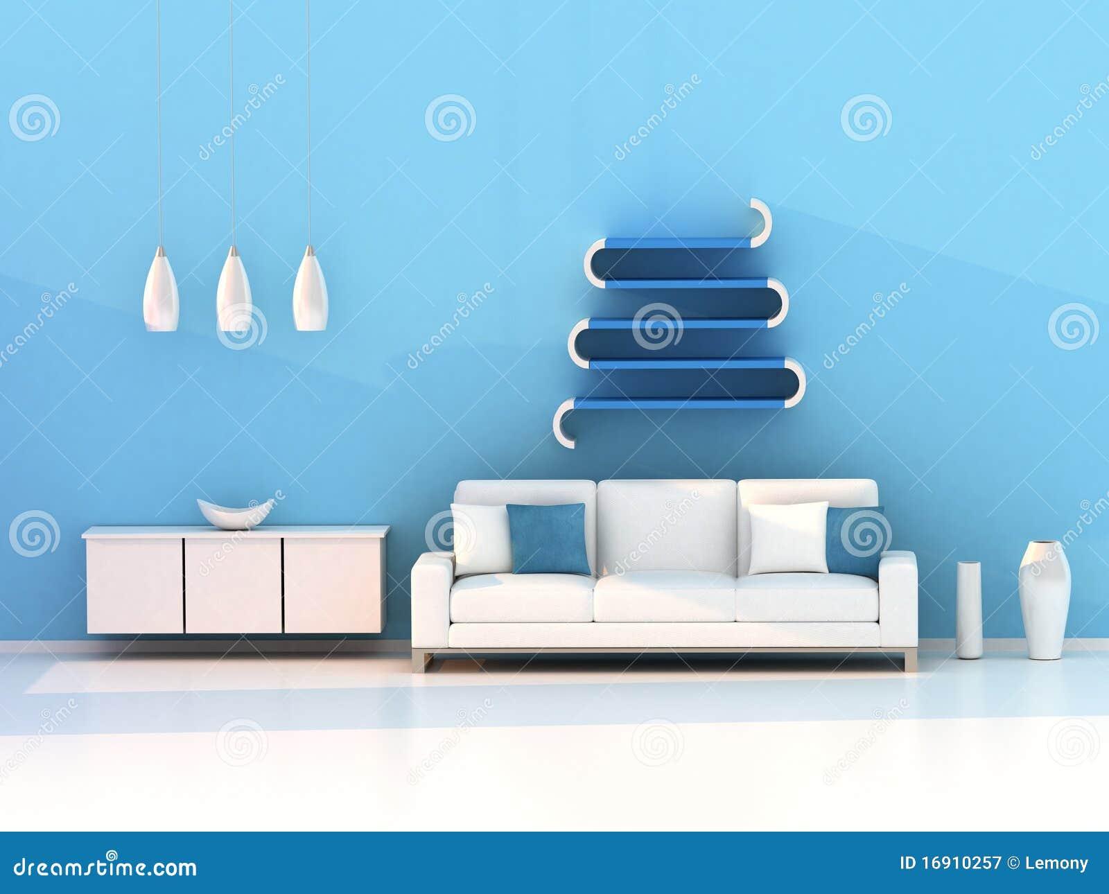 Blue Modern Living Room Royalty Free Stock Photos - Image: 9483188