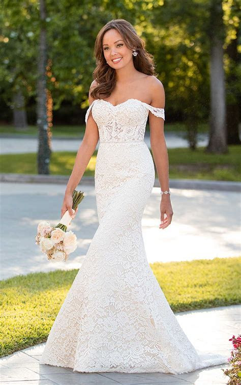 Chic Wedding Dress with Off the Shoulder Sleeves   Stella York