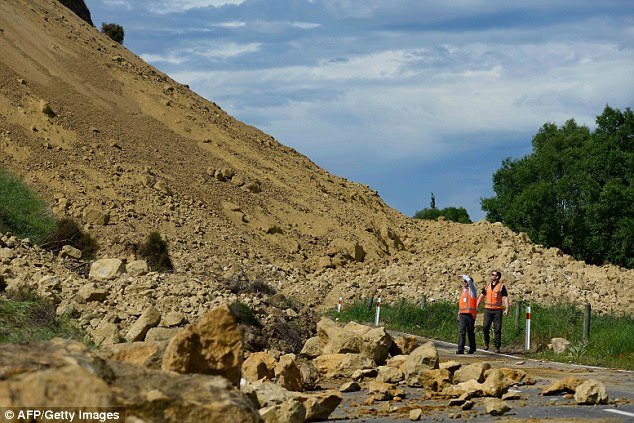 The earthquake that shook New Zealand three weeks ago (pictured) caused large landslides