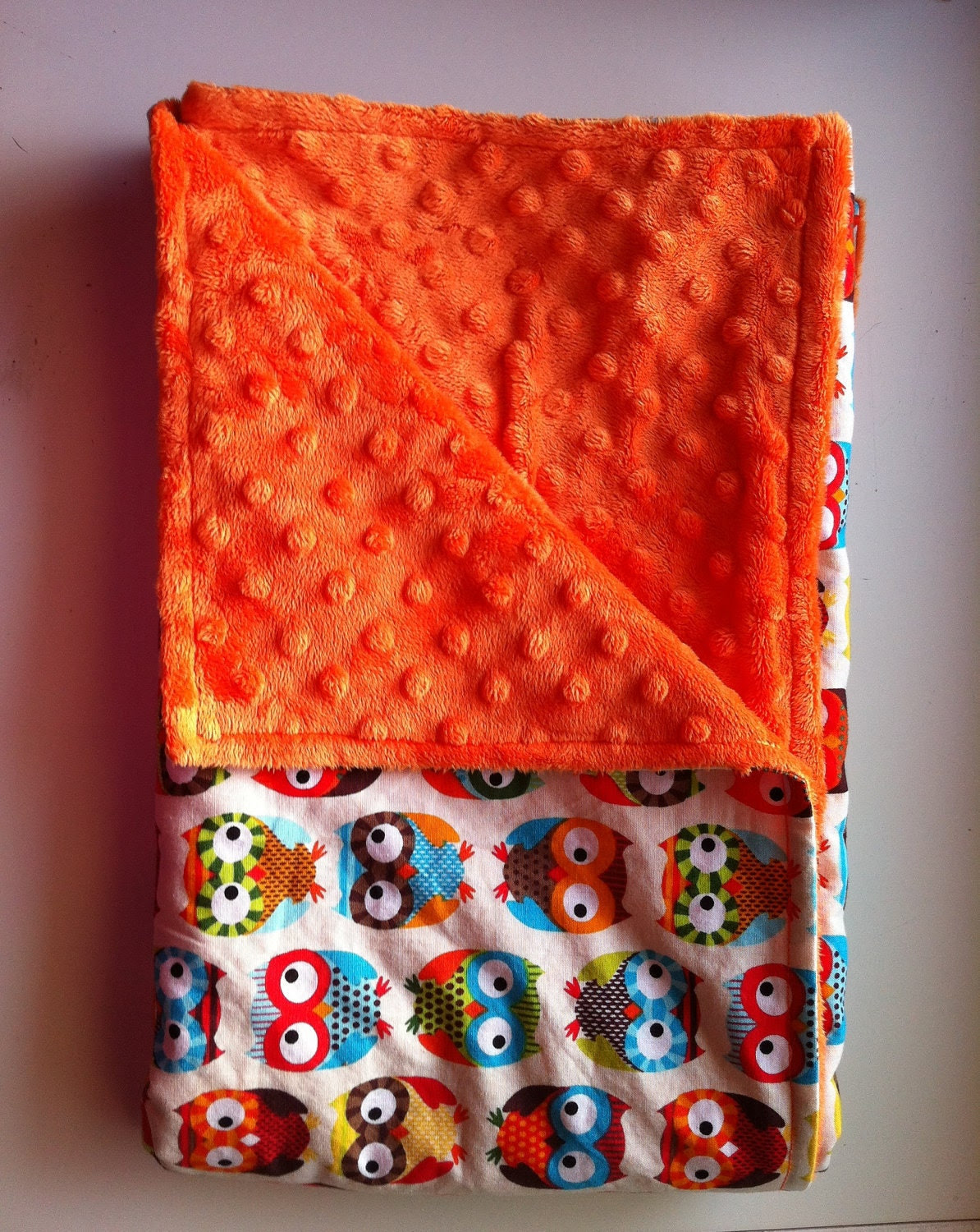 Baby Blanket, Owl Baby Blanket with Minky