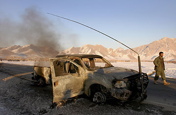 A vehicle destroyed by a suicide bomber in the Logar province of Afghanistan.