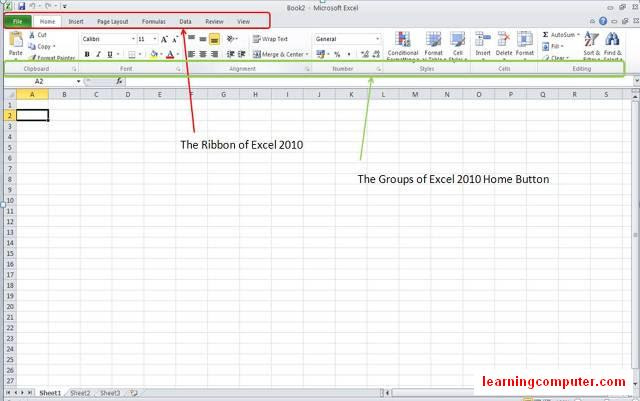 ms office 2010 Excel - Ribbon and Home tab