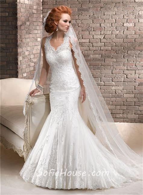 Romantic Mermaid Sweetheart Beaded Lace Wedding Dress With