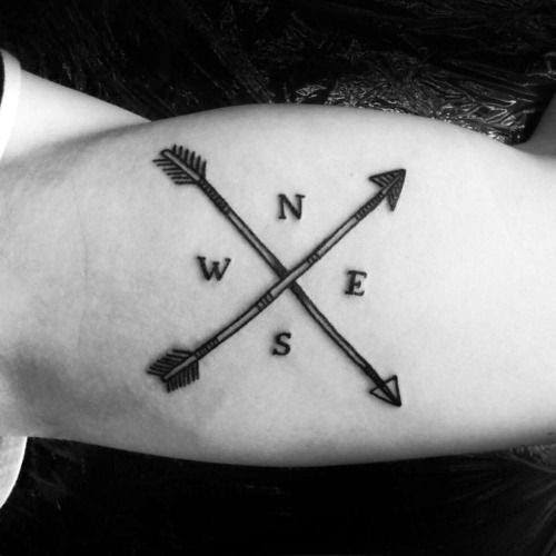 East West North South Arrows Tattoo