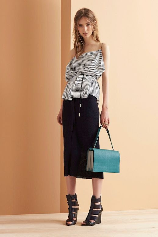 Le Fashion Blog Maiyet Resort 2015 Collection Stripped Cami Belted Top Midi Skirt Turquoise Green Bag Strappy Wedge Sandals