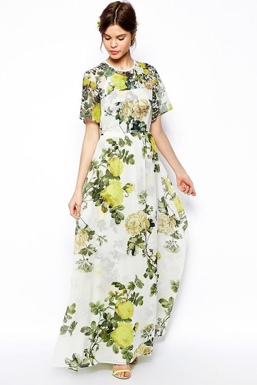 Le Fashion Blog 3 Floral Dresses To Wear To Summer Wedding TShirt Maxi Style Yellow Heeled Sandals photo Le-Fashion-Blog-3-Floral-Dresses-To-Wear-To-Summer-Wedding-TShirt-Maxi-Style.jpg