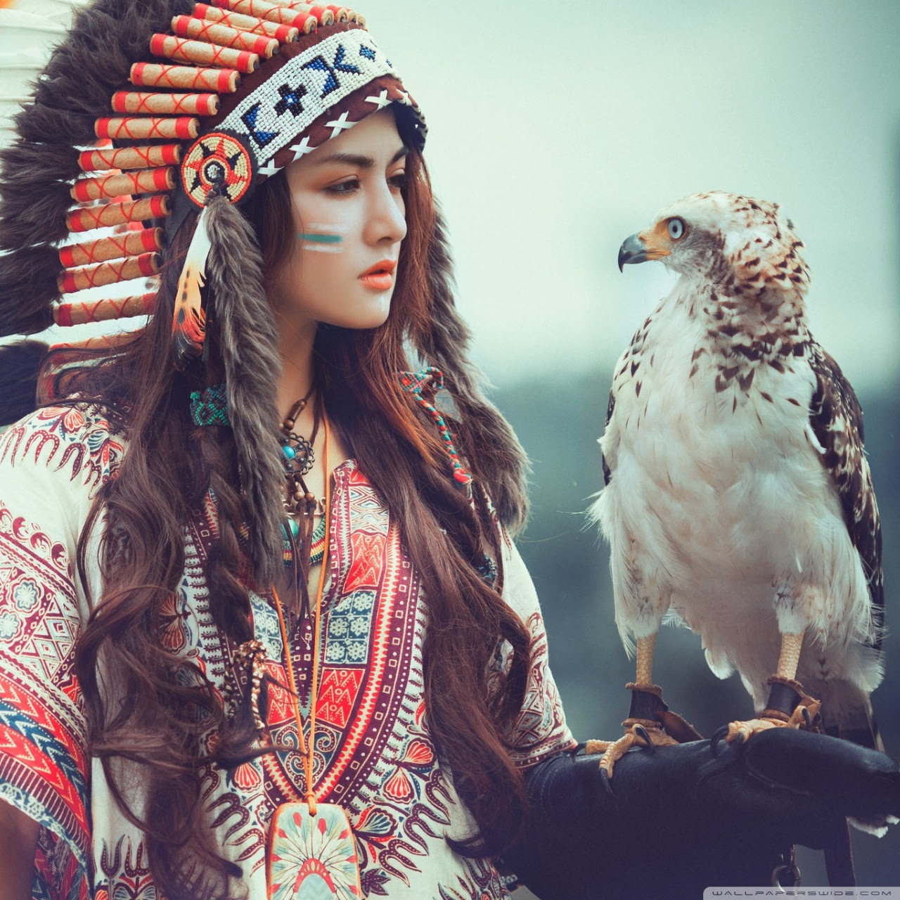 Native American Girl With Eagle Ultra Hd Desktop Background