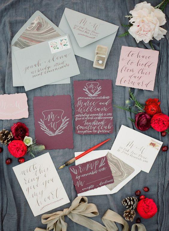 ein Weihnachten Hochzeit invitaiton set in mint, Burgund, rosa und neutralen mit einem Achat drucken