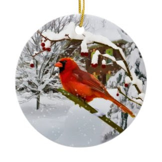 Christmas, Cardinal Bird, Snow, Ornament