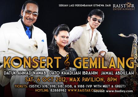 Konsert Gemilang Singapore will take place on Saturday, October 6th 2012 at Max Pavilion, Singapore