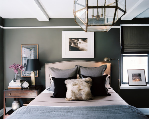 Modern Bedroom - A masculine bedroom with gray walls