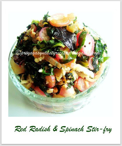 Red Radish & Spinach Stirfry