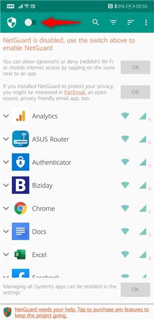 Habilitar NetGuard en Android