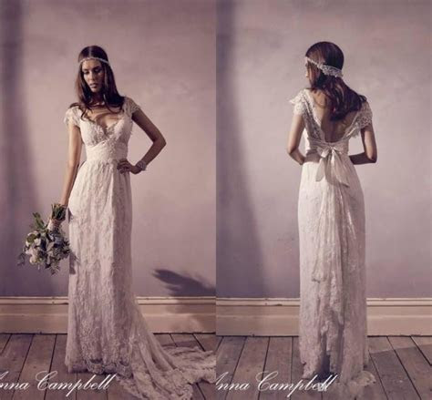 Exquisite Anna Campbell Lace Bohemian Wedding Dresses V