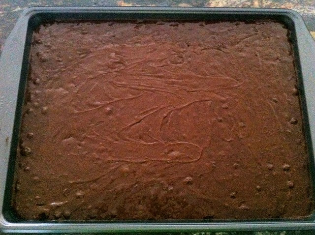 Brownie Batter Spread in Half Sheet Pan