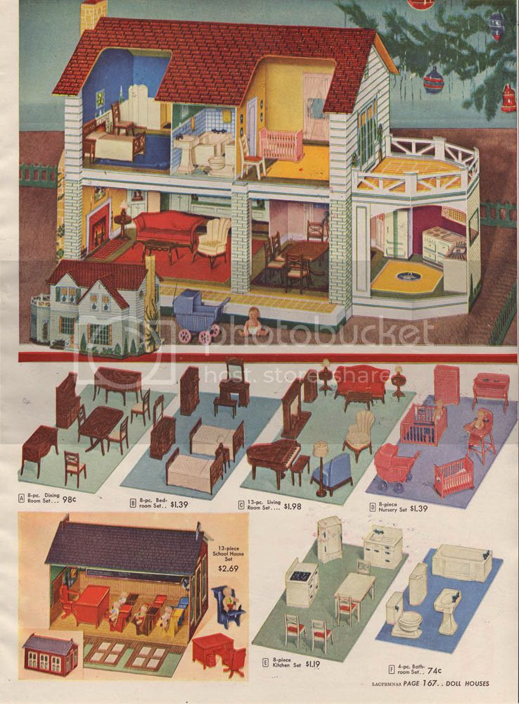 a doll house so pretty i would still be thrilled to be given such a present at the ripe old age of 25 was amongst the offering in the 1947 wish book - Sears Christmas Catalog