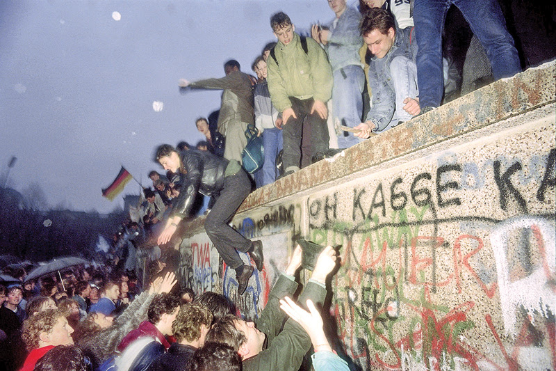 People from East Germany greet citizens of West Germany at the Brandenburg Gate in Berlin on Dec. 22, 1989, after the fall of the Berlin Wall the month before.
