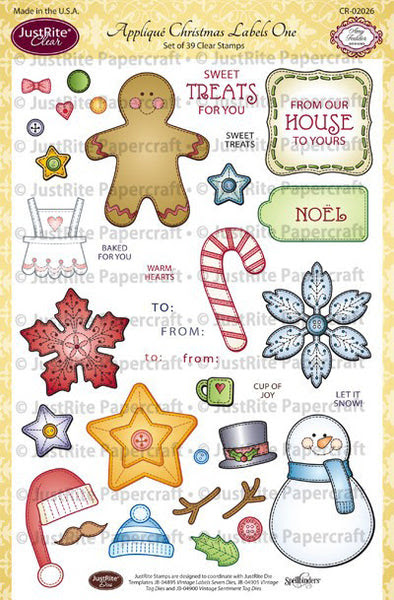 Appliqué Christmas Labels One Clear Stamps