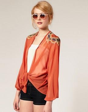 Image 1 ofASOS Embroidered Shoulder Kimono Jacket