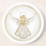 Framed Golden Filigree Christmas Angel of Grace Coasters