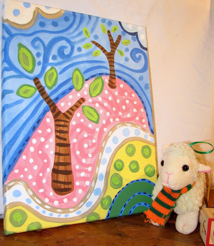 Sale- TREE PAINTING, 11 x 14, Children Decor, Nursery Decor, Original Painting