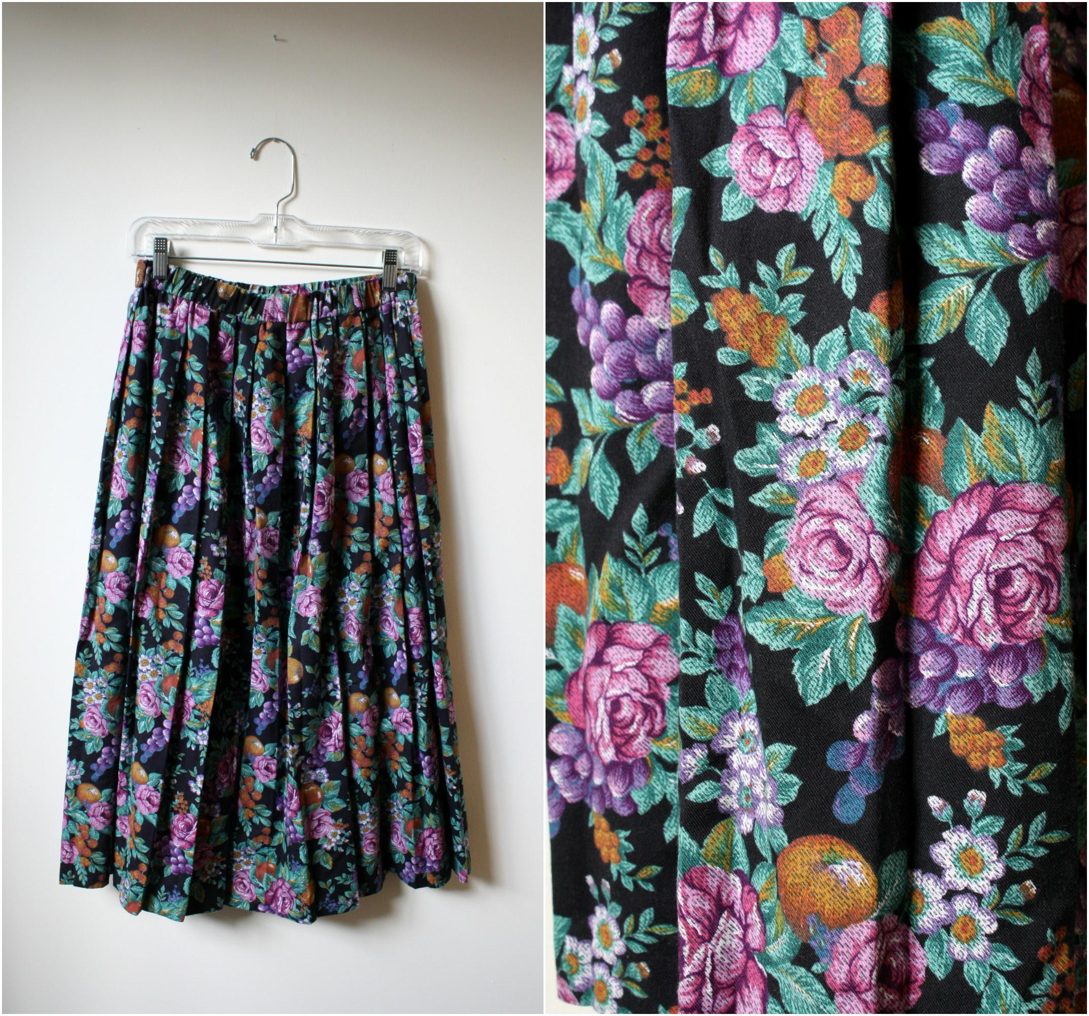 vintage fruit print skirt