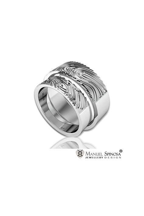 wedding ring set with original fingerprint design