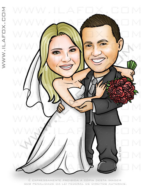 caricatura casal, caricatura noivos, caricatura para casamento, caricatura bonita, caricatura by ila fox
