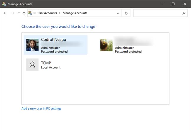 Lista de cuentas de usuario en Windows 10