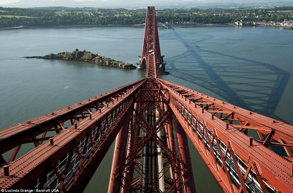 Ms Grange from the top of the Firth of Forth Rail Bridge in Queensferry, Scotland