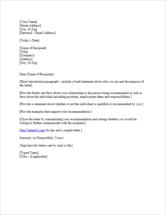 Free Letter Of Reference Template Recommendation Letter
