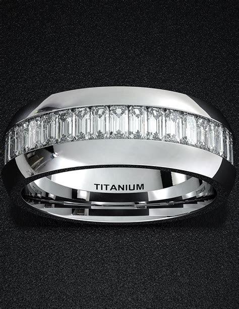 Mens Wedding Band 8mm Titanium Ring High Polished Surface