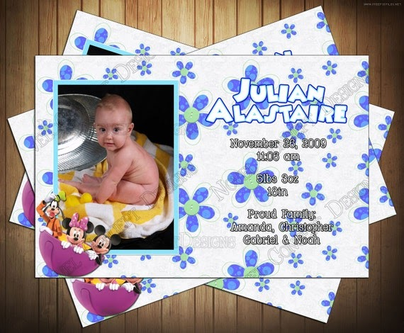 Novel Concept Designs Mickey Mouse Birth Announcement