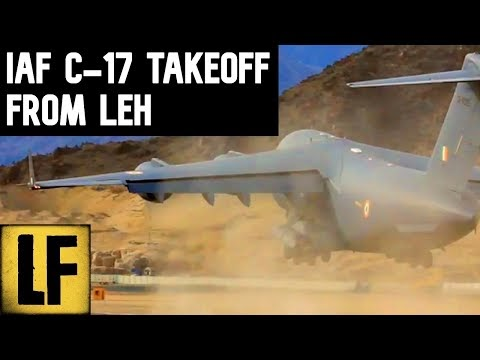 Indian Air Force C-17 Taking Off From Leh