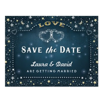 Moon & Stars Teal Gold & White Save Date Postcard by juliea2010 at Zazzle