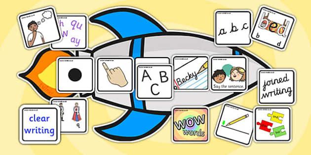 Editable Writing Target Cards Rockets - writing targets, writing