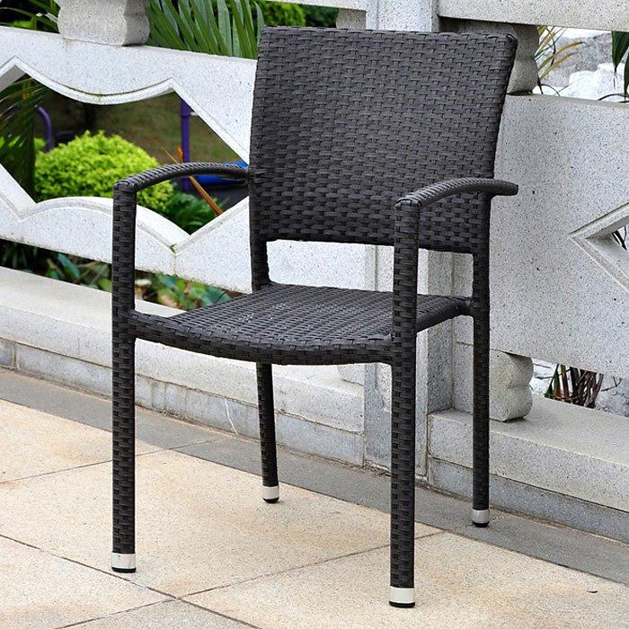 Barcelona Patio Chair - Stackable, Black Antique Wicker ...