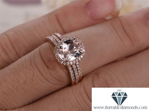 7x9mm Oval Cut Morganite Engagement Ring Double Half