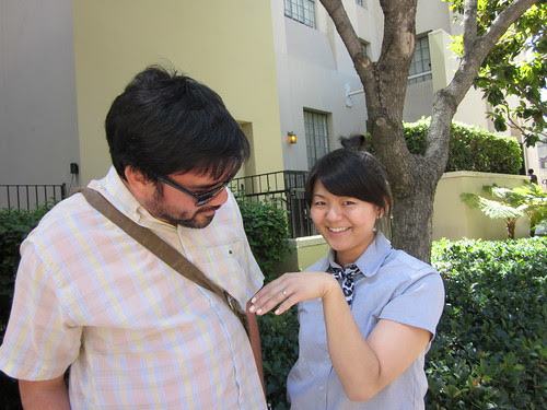 Jun showing off her ring to Socrates, Downtown Los Angeles