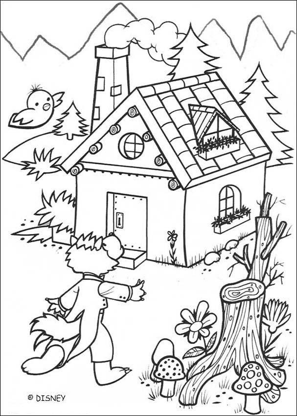 Pigs wait for the big bad wolf coloring pages - Hellokids.com