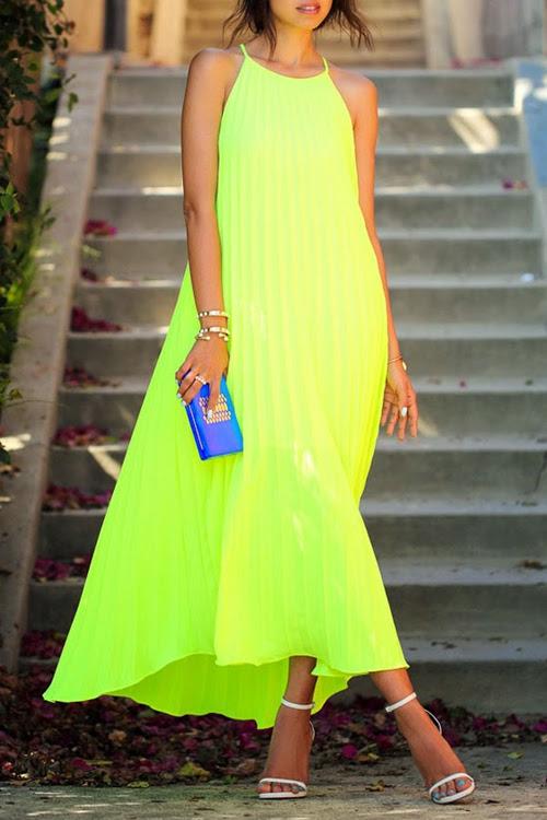 لون الصلبة السباغيتي الشريط أكمام فستان ماكسي