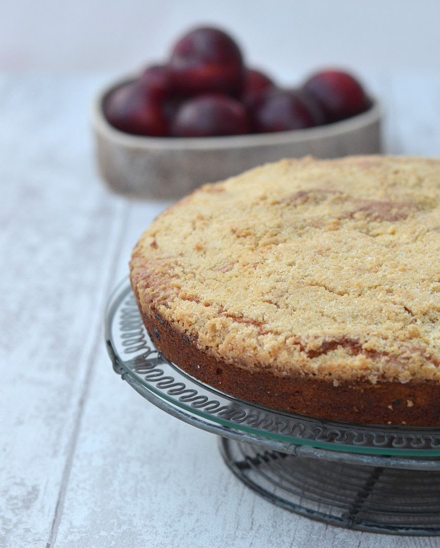 Plum & Ginger Crumble Cake